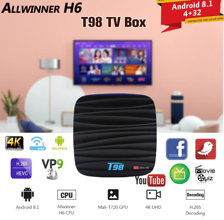 T98 Android 8 1 Smart TV BOX 4GB+32GB Allwinner H6 Quad Core Support 4K HD  WiFi Voice Remote/Set Top