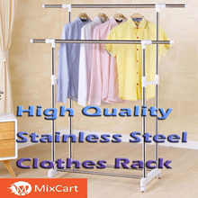 Double-pole stainless steel Clothes Rack clothes hanging stand organiser hanger◆Local Fast shipping
