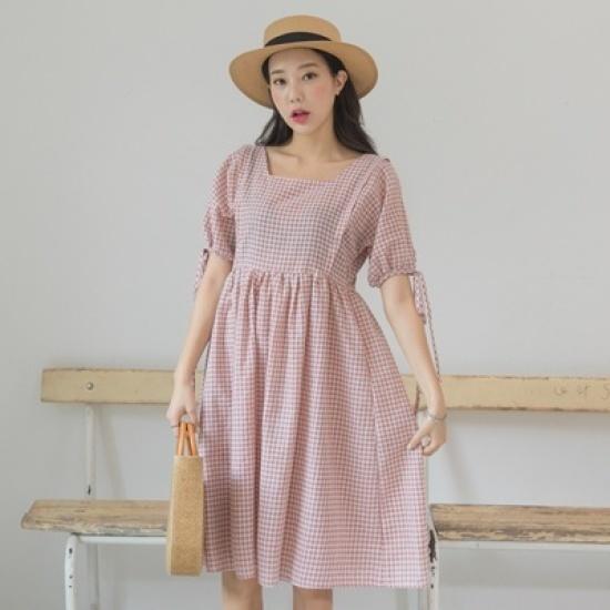 ホワイト・フォックスラブリーチェックストラップワンピース 綿ワンピース/ 韓国ファッション