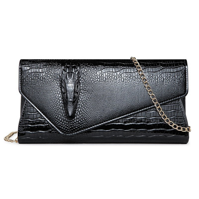 853e7277531e Women Clutch Wallet Alligator Chains Shoulder PU Leather Cover Long Purse  Lady Evening Bags Banquet