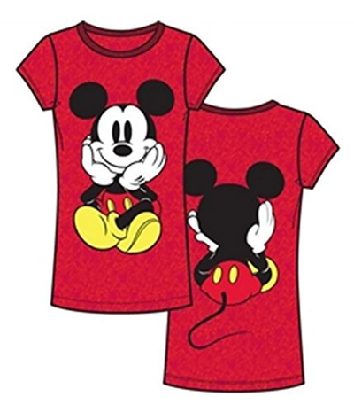 Disney Top Cut And Junior Tee Shirtlarge Front Fashion Women Mickey T Mouse Back v0wmN8Oyn
