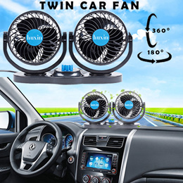 Twin Car Fan 12 24V Absorption Type Rolling Low Noise Summer Air Conditioner 360° Rotation 2 Speeds