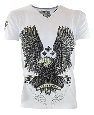46cdac08e6410e Direct from Germany -  2041 KINGZ Herren Designer T-Shirt Adler Nieten  Baumwolle Schwarz