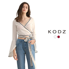 KODZ - Wrap Blouse with Tie Detail-180020