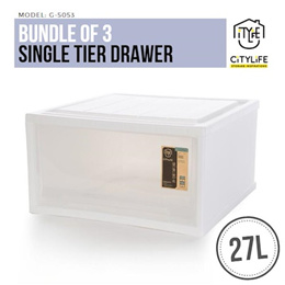 BUNDLE of 3 Citylife Single Tier Drawer 27L * Stack-able and Sturdy Design !