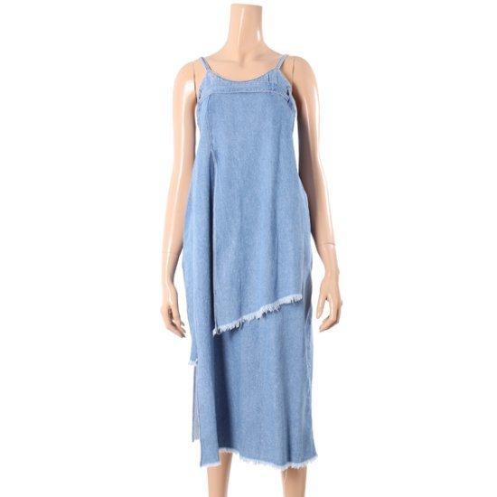 エスジェイとジェイピーアンバランスデニムドレスPWMR1DO039R1 面ワンピース/ 韓国ファッション