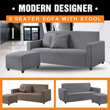 Medellin Modern Designer Fabric 3 Seater SOFA WITH STOOL |  PVC Available!