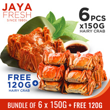 JAYAFRESH - Buy 6 pc hairy crab (150g each)  get 1 pc (120g) FREE