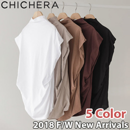 [CHICHERA] Korean fashion NO.1 / [Restocked] 5Color Shirring Turtleneck T Shirt / Flat Price