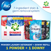 [Dynamo / Downy] Powder Laundry Detergent 3.3/3.6kg + Downy Liquid Refill Pack 1.5/1.6kg