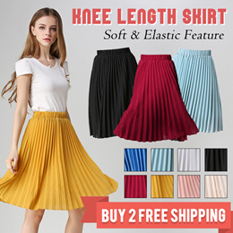 c7d97ded1c Time Sale 【BUY 2 FREE SHIPPING】2019 pleated skirt / high waist slimming /  summer new versatile organ vintage