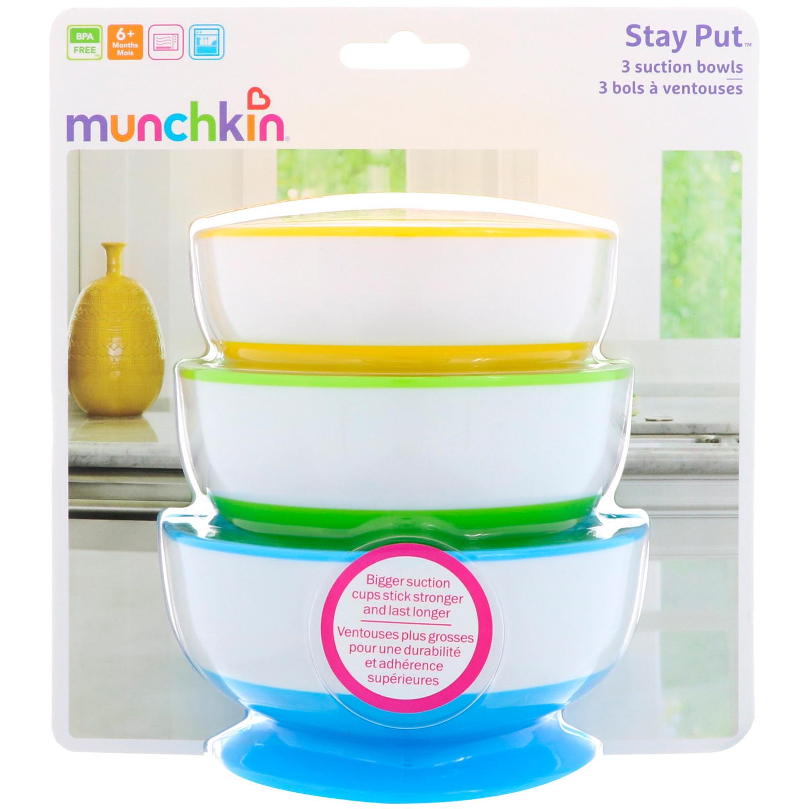 Munchkin Three Stay Put Suction Bowl 3-Pack Kopjes, schotels, keukengerei