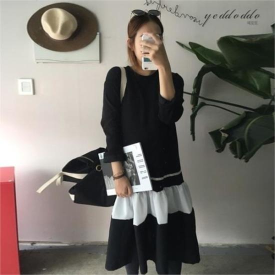 はいトト行き来するようにはいトト起毛ブルレクティワンピース プリントのワンピース/ 韓国ファッション