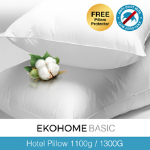 [Ekohome Basic ] 1+1 Hotel Pillow 1100/1300G Down Alternative Cotton Shell