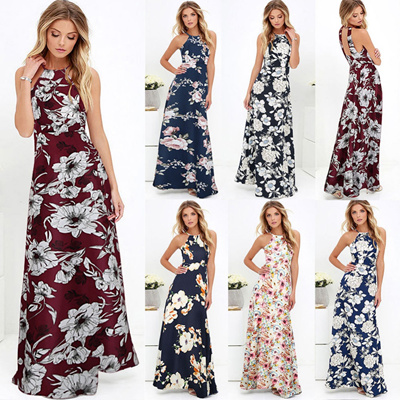 f10f754b769 discount 5XL Plus Size Maxi Dress Women Sexy Halter Neck Boho Floral  Sleeveless Summer Dress 2018