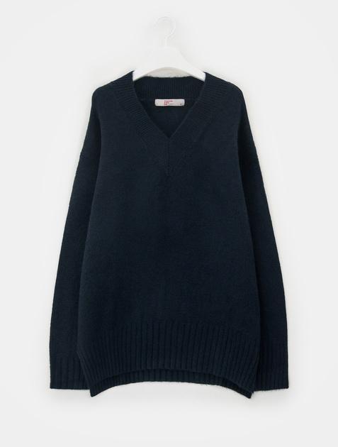 8SECONDS [LAB8] Loose Fit V-neck Knit Pullover – Navy
