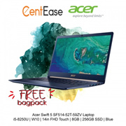Acer Swift 5 SF514-52T-59ZV Laptop - i5-8250U| W10| 14in FHD Touch| 8GB| 256GB SSD| Blue