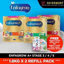 [ENFAGROW A+] [BUNDLE OF 2] STAGE 3 4 AND 5 1.8KG X 2 REFILL PACK  - [FREE BABY WIPES OR MASK]