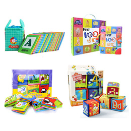 Children baby toddler Educational Cloth Flash Card toys book Rattle Blocks Flashcards
