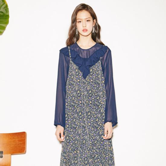 ナインNAINフラワーシャーリングワンピースOP3311 シフォン/レース/フリル/ 韓国ファッション