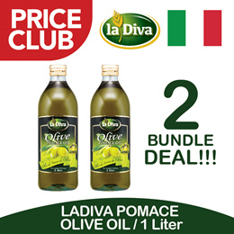 LADIVA POMACE OLIVE OIL 1 LTR (BUNDLE OF 2)  / Imported From Italy