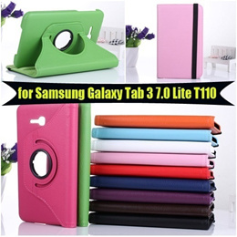 360 Rotating Case for Samsung Galaxy Tab 3 LITE 7 T110 Leather Protective Shell Covers