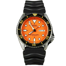 Seiko Automatic Divers 21 Jewels Orange Dial Black Rubber Mens Watch SKX011J SKX011 SKX011J1