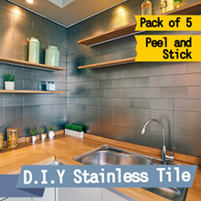 [Pack of 5] Self Adhesive Stainless Steel Tile for Wall Interior Kitchen Stove Backsplash Protector
