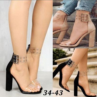 b87f05239e7 New Summer Sexy Fashion Woman High Heels Thick Heel Sandals Ladies  Transparent Open Toe Sandals Ankl
