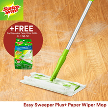 [Official E-Store] Scotch-Brite™ Easy Sweeper Plus+ Paper Wiper Mop[FREE Dry Sheets Refill 20pcs]