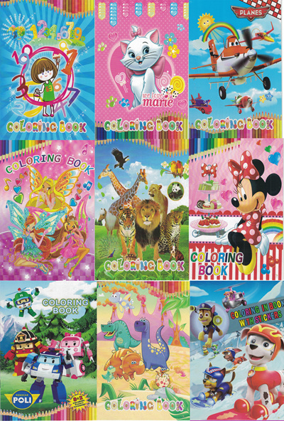 Children Cute Cartoons Character Sticker Colouring Book Party Gift Goodie Bag Kids BUY 5