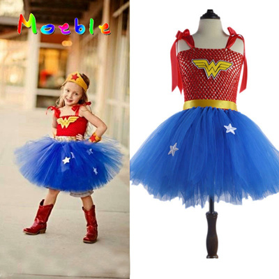 5c24dc4b5 authentic Superhero Wonder Woman Girl Tutu Dress Kids Cosplay Costume  Christmas Halloween Dress Up T