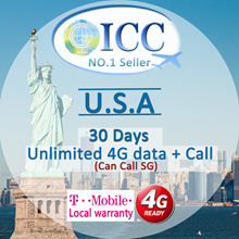 ◆ ICC◆【U.S.A America Sim Card·7-30 Days】Unlimited 4GLTE data+call SG/Local (unlimited)
