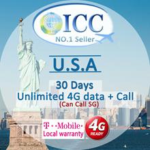 ◆ ICC◆【U.S.A America Sim Card·7-30 Days】Unlimited 4GLTE data+Unlimited Call SG/Local Call❤Plug Use