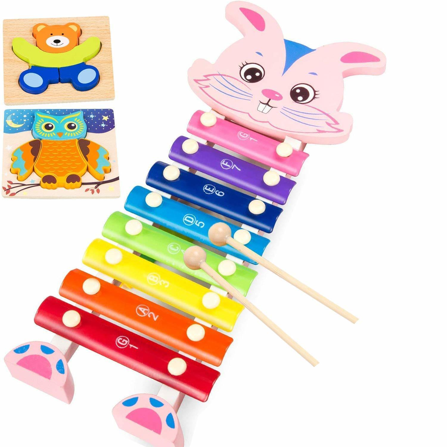 amagoing wooden xylophone, rabbit hand knock percussion musical instruments  toys for children kids b