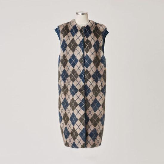 レディートウウエアGRANDIArgyle mink vest ロング/ショールカラベスト/ 韓国ファッション