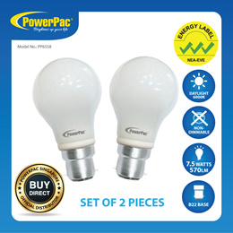 2 Pieces x PowerPac 7.5W B22 Vertex LED Bulb Day Light (PP6558)