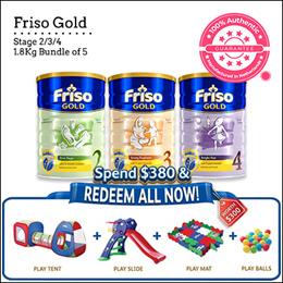 [FRISO] Friso Gold 2/3/4 1.8 kg 5 tins bundle Official Friso Seller Made in the Netherlands for Sg