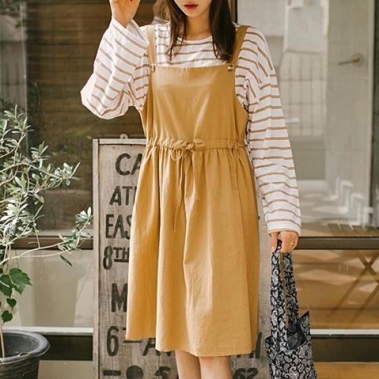 素敵キチサスペンダーOPS 綿ワンピース/ 韓国ファッション