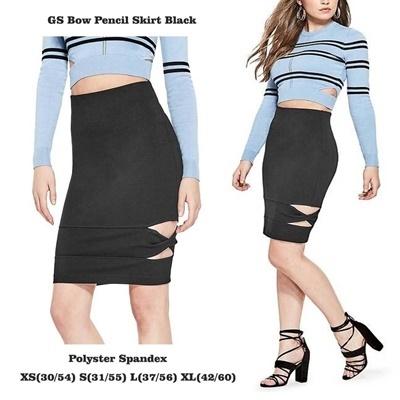 GS Bow Pencil Skirt Black