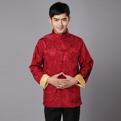 0ce3438c9 Traditional Chinese Clothing For Men New Year Tang Costume Male Silk  Two-sided Daily Winter