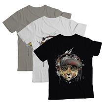 Original Music-Theme Graphic T-Shirt. Black White Grey. No Music No Leopard (T).