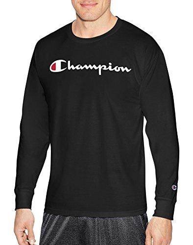74b27b36 Champion Mens Classic Jersey Long Sleeve Script T-Shirt, Black, X LG