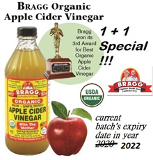 [1+1] Bragg Organic Apple Cider Vinegar Raw Unfiltered - with The Mother(473ml/946ml)- weight loss /