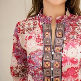 plus size chiffon women blouses bohemian indian tops summer blusas 5XL embroidery long shirt blouse