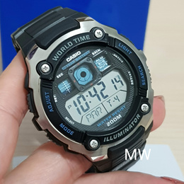 New Casio AE-2000W-1A World Time Illuminator Digital Men s Watch AE2000 AE2000W