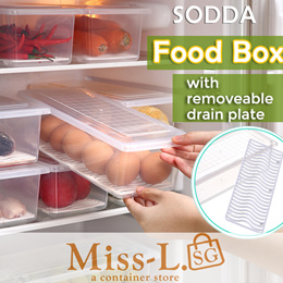 [BL]Food box with removeable drain plate/kitchen rack/glass storage/organiser/food container