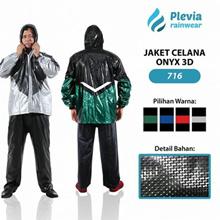 Jas Hujan Jaket Celana Plevia ONYX 3D 716 Motor Cowok Pria Carbon PVC