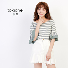 TOKICHOI - Stripe Print Ruffle Blouse-171444-Winter