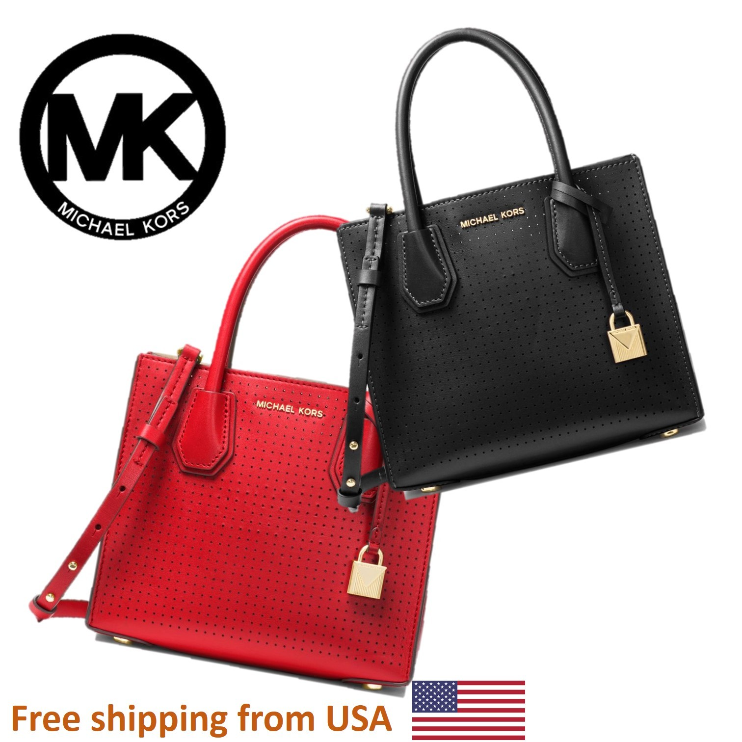 326af8d0b28b93 Show All Item Images. close. fit to viewer. prev next. [MICHAEL MICHAEL  KORS] Mercer Perforated Leather Crossbody